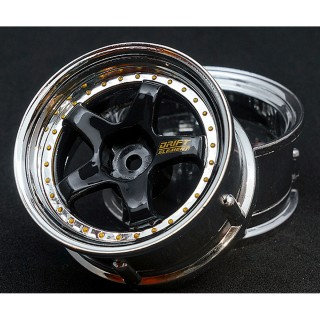Drift Element Wheel - Adj Offset(2) / Hi Gross 2K Black Face Chrome Lip with Gold Rivets [DE-013]]